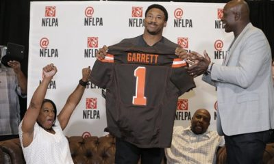 CLEVELAND -- No. 1 pick Myles Garrett has done a lot of talking before participating in his first NFL practice. The former Texas A&M pass rusher not only said he plans to break the rookie and season sack records