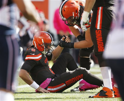BEREA -- Coach Hue Jackson might have a decision to make regarding his starting quarterback for Sunday's game against the Tennessee Titans.