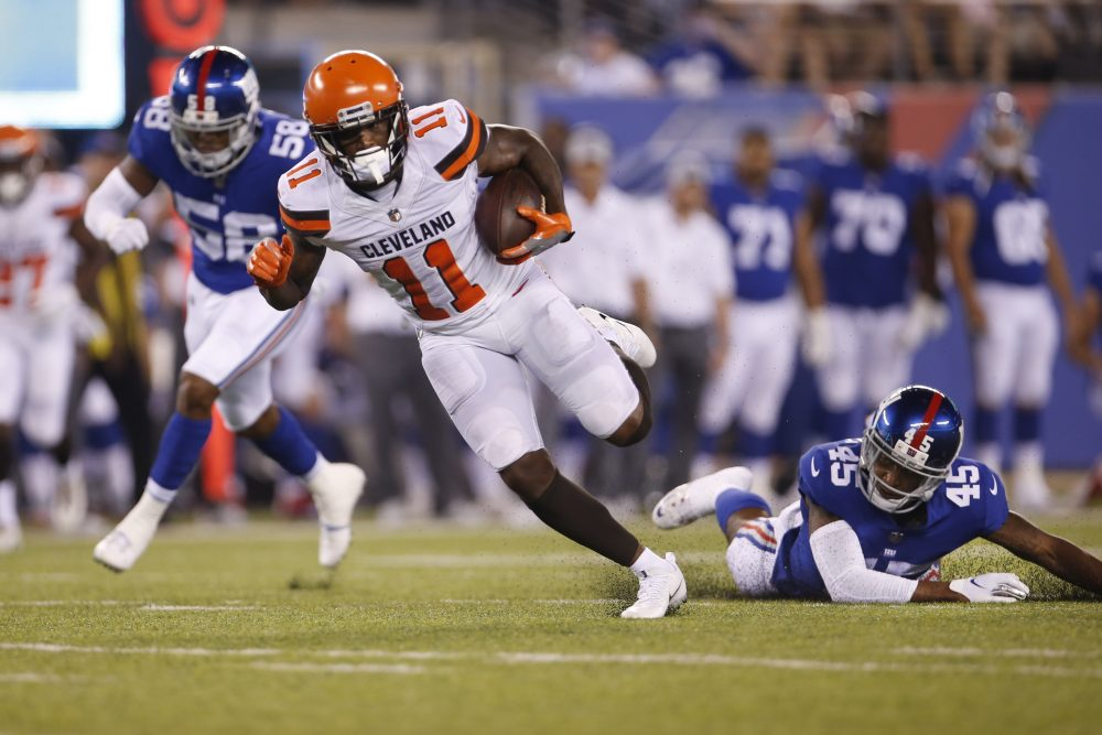 76fbc55c1 General manager John Dorsey and coach Hue Jackson chose not to bench rookie  receiver Antonio Callaway for the preseason opener Thursday night against  the ...