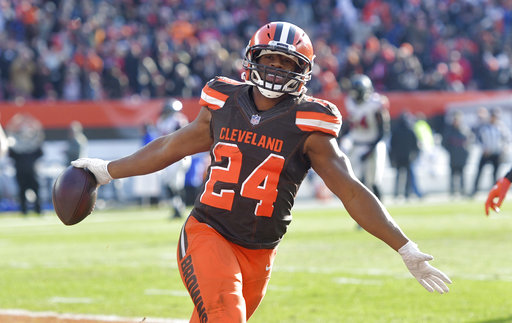 premium selection 27b2f a661c Rookie Nick Chubb sets Browns record with 92-yard TD run ...